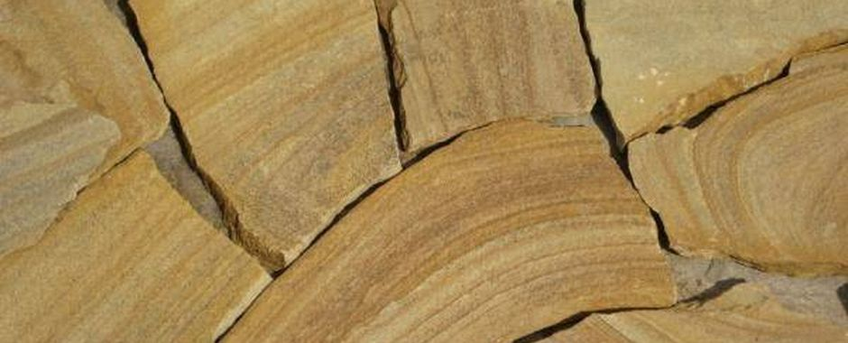 Желтый с50% разводами плитняк изростовского песчаника